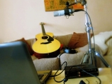 Recording the new acoustic material.