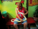Cezar and the albino snake.